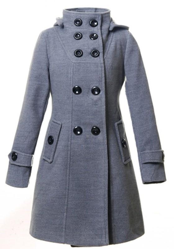 online store 2144c 6758f Grau Zweireiher Taschen Mit Kapuze Langarm Knielang Lange Warme Wollmantel  Wintermantel Damen