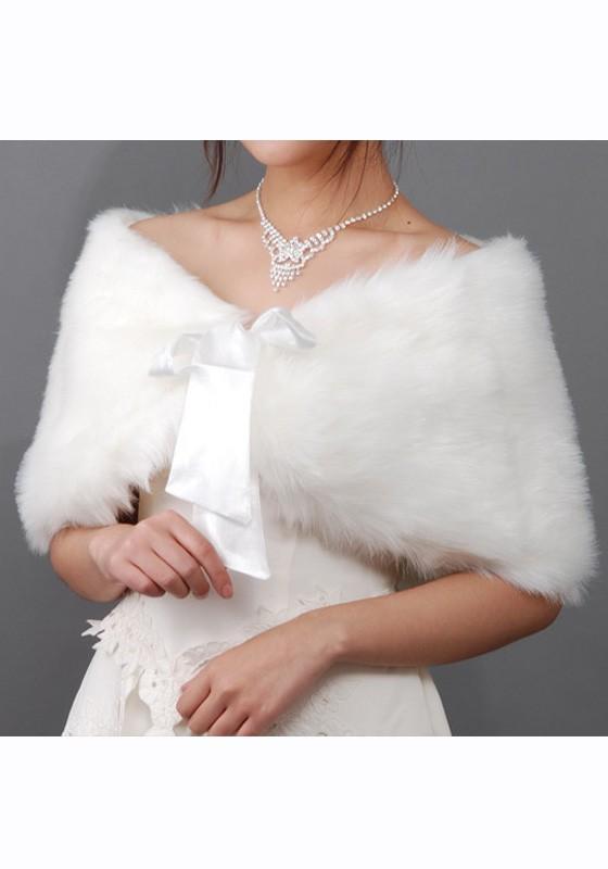 Beige Brautzusatz Elfenbein Kunstpelz Winter Hochzeit Braut Schal