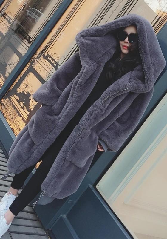 Longue manteau en fausse fourrure à capuche oversized hiver mode femme gris foncé