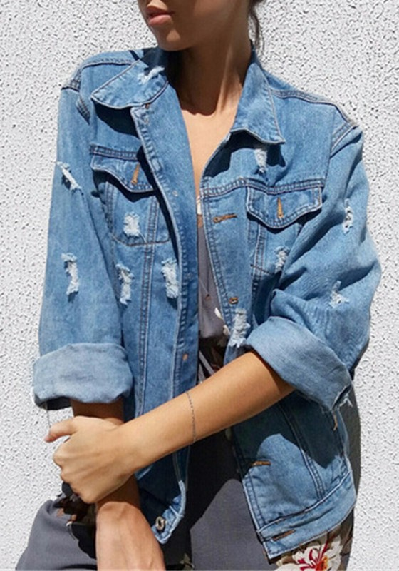 hellblaue taschen v ausschnitt einreihig langarm oversize jeansjacke damen mantel g nstig. Black Bedroom Furniture Sets. Home Design Ideas