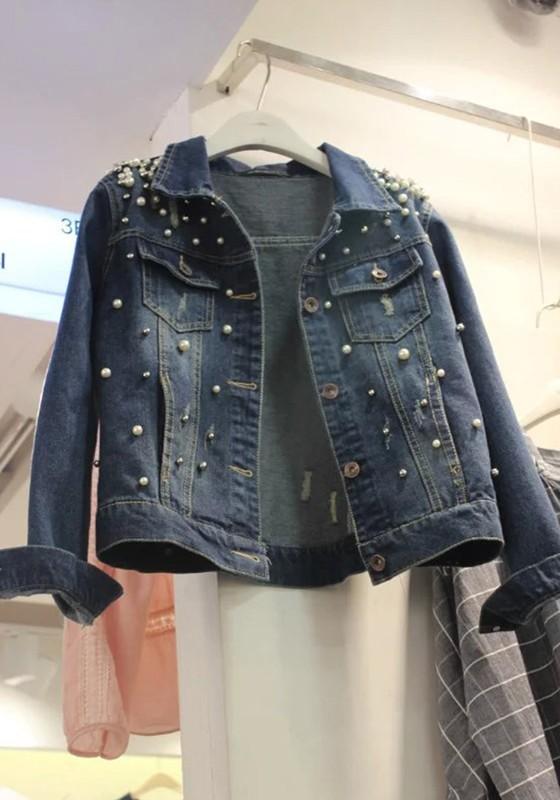 new concept 94c11 0bae2 Dunkelblau Perlen Taschen Einreiher Große Größen Ausgefallene Oversize  Jeansjacke Damen Mantel Günstig