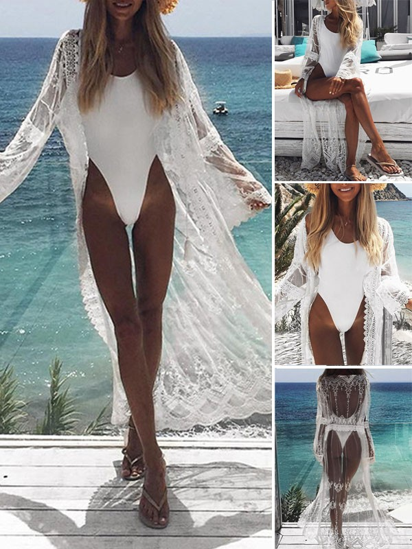 bf37595941 White Lace Grenadine Beachwear Beach Look Kimono Cover Up long Gauze  Cardigan - Outerwears - Tops