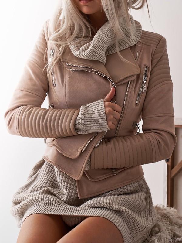 Doppelstock Biker Taschen Reißverschluss Umlegekragen Jacke Damen Kurz Kunstlederjacke Beige Mode Übergangsjacke 53L4ARcjq