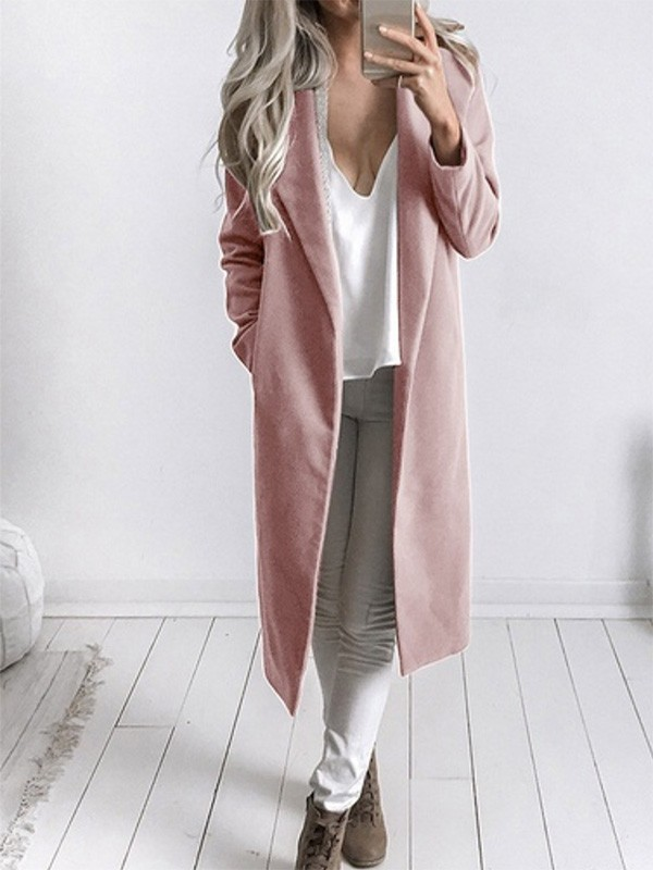 the latest a350b 9df50 Rosa Taschen Umlegekragen Langarm Elegantees Lange Wintermantel Wollmantel  Damen