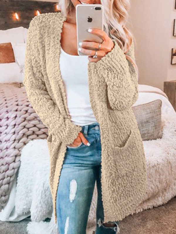 25dcaf8a23 Khaki Pockets Fuzzy Fur Casual Fashion Cardigan Sweater - Cardigans -  Sweaters - Tops