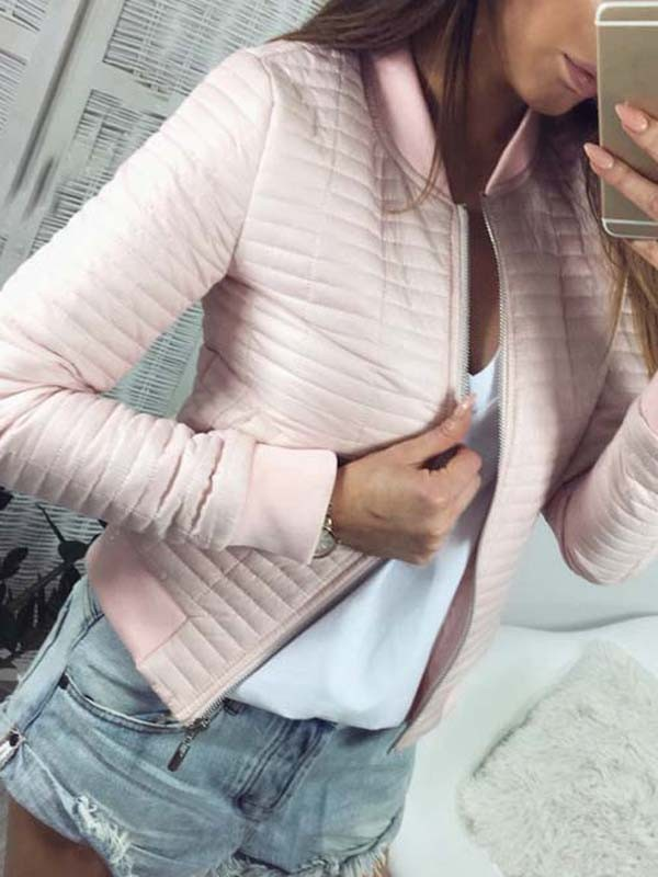 210667cd667c Pink Zipper Long Sleeve Fashion Casual Coat - Outerwears - Tops