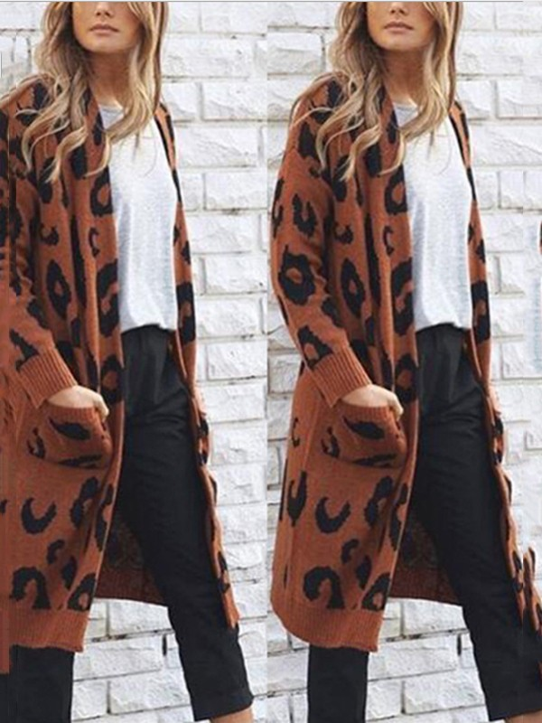 Tops Buttons Long Print Sleeve Leopard No Casual Coffee Cardigan Pockets Sweaters Sweaters Cardigans BR7qft