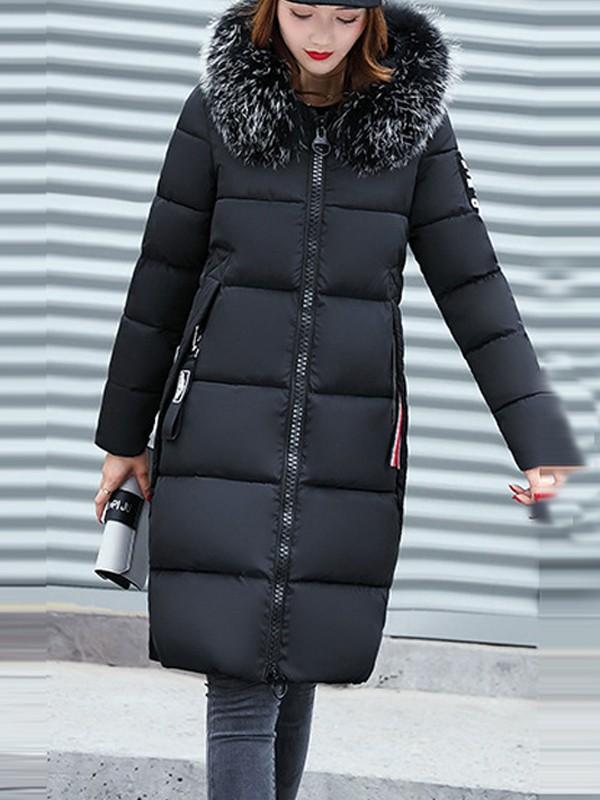 pas cher pour réduction Nouvelles Arrivées réduction jusqu'à 60% Mi-longue manteau doudoune fourrure à capuche manches longues hiver mode  décontracté femme vestes noir