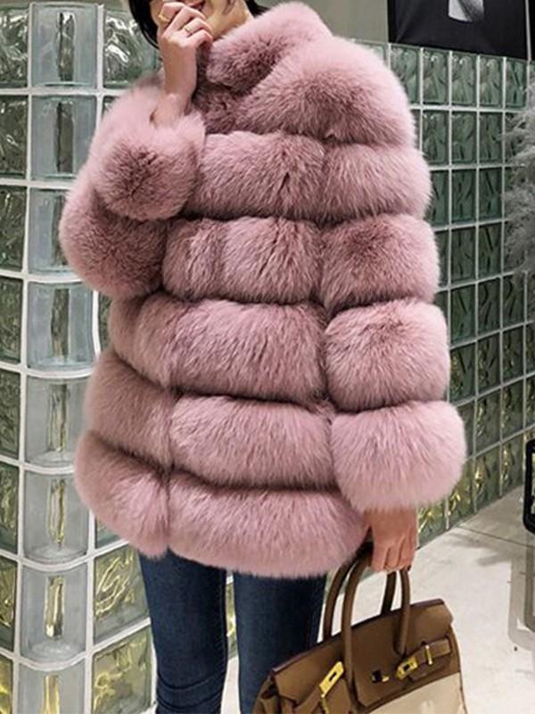 Pink Fuzzy Faux Rabbit Fur Bubble Fur Long Sleeve Outerwear Teddy Coat