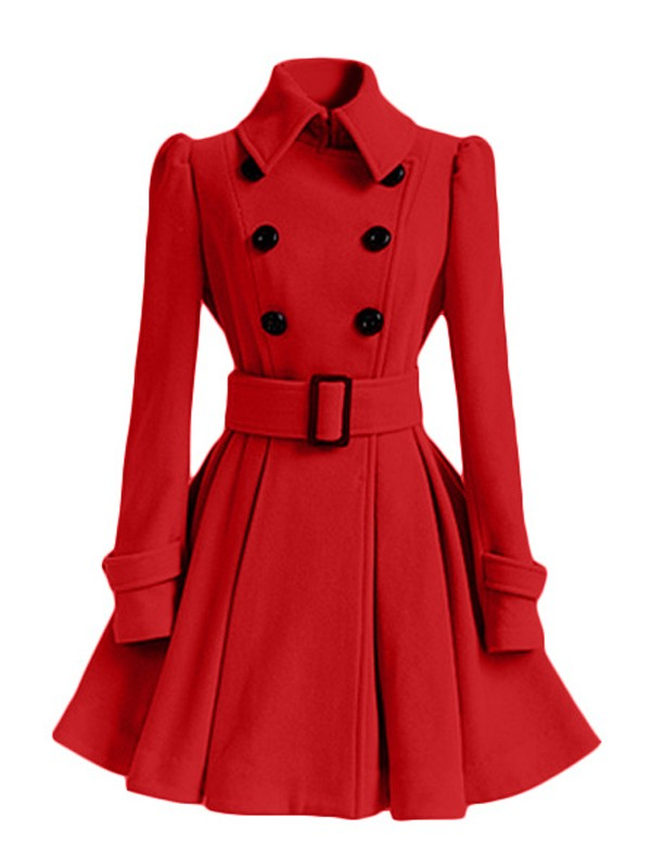 Sashes Double Breasted Collar Sleeve Turndown Long Coat Red Elegant BrdQeECxoW