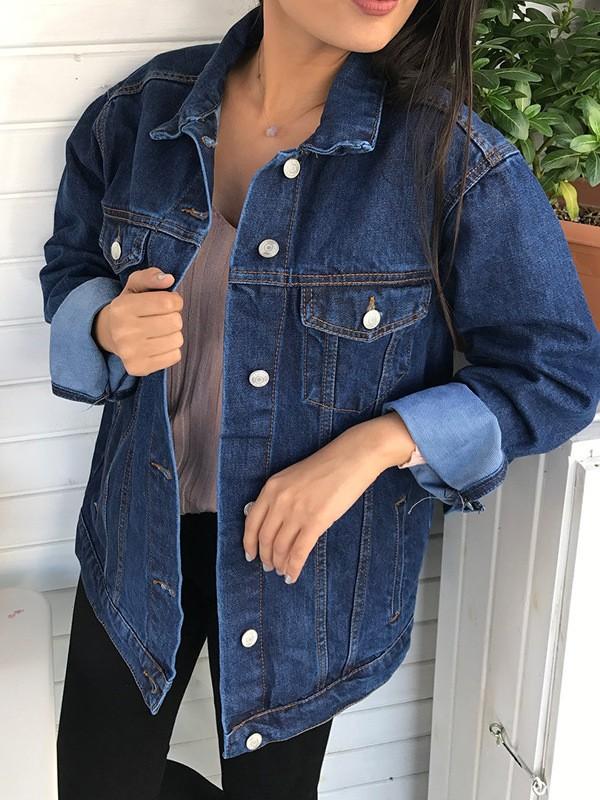 newest d5518 9907d Dunkelblau Taschen Knöpfe Langarm Denim Boyfriend Oversize Jeansjacke Damen  Mode