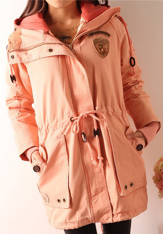 Pink Plain Drawstring Cotton Blend Padded Coat - Outerwears - Tops
