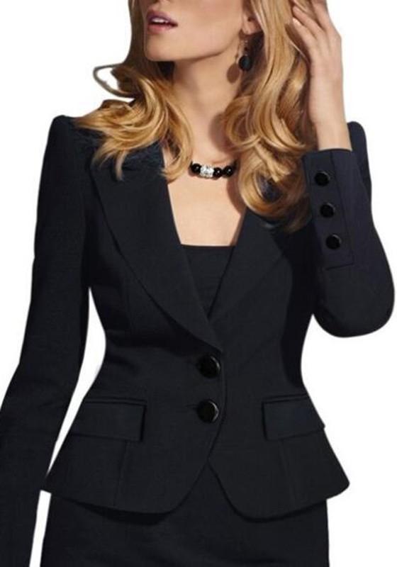 schwarze taschen umlegekragen knopfe langarm elegante anzug jacken office business blazer damen. Black Bedroom Furniture Sets. Home Design Ideas