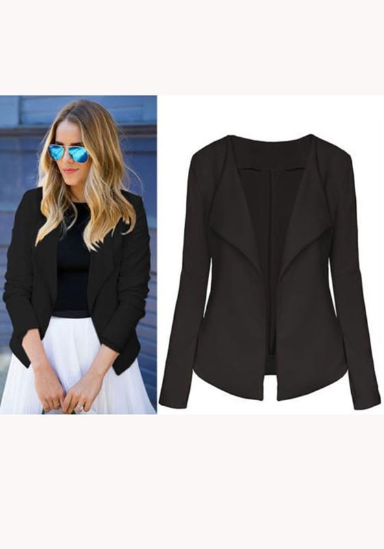 schwarze umlegekragen 3 4 rmel elegante anzug jacken office business blazer damen mode. Black Bedroom Furniture Sets. Home Design Ideas