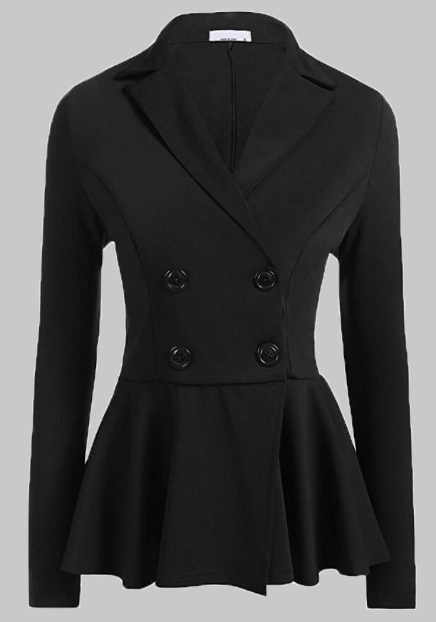 schwarze doppelreiher knopfe langarm sch chen peplum elegante anzug jacken office business. Black Bedroom Furniture Sets. Home Design Ideas