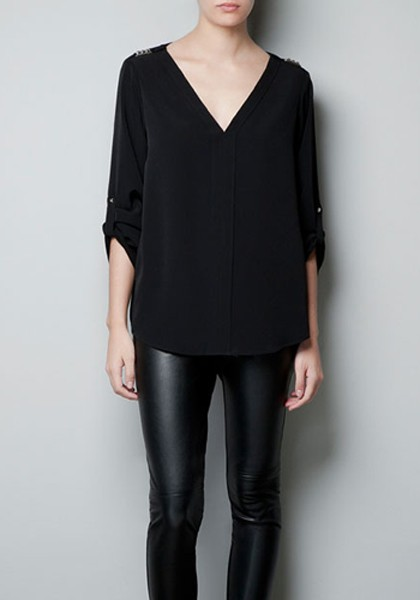 Black Rivet V-neck Long Sleeve Chiffon Blouse - Blouses - Tops