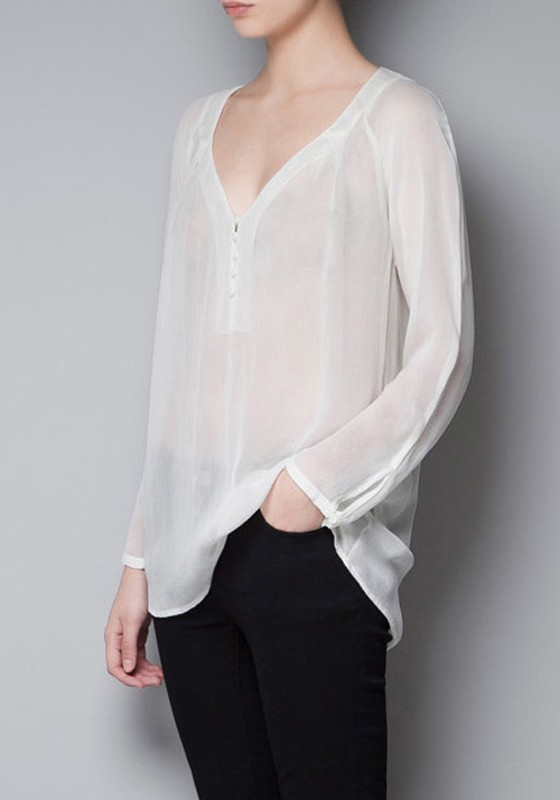 White Plain Buttons Long Sleeve Chiffon Blouse - Blouses - Tops