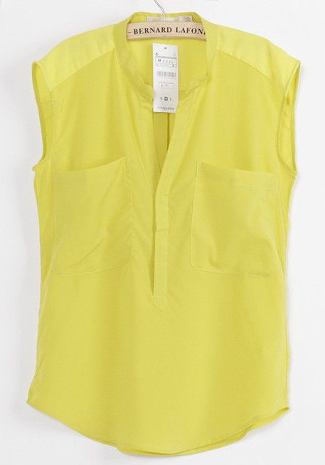 700ece02460c70 Yellow Plain Pockets V-neck Sleeveless Chiffon Blouse - Blouses - Tops