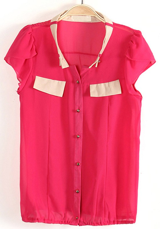 Red Buttons Pockets V-neck Short Sleeve Chiffon Blouse - Blouses ...