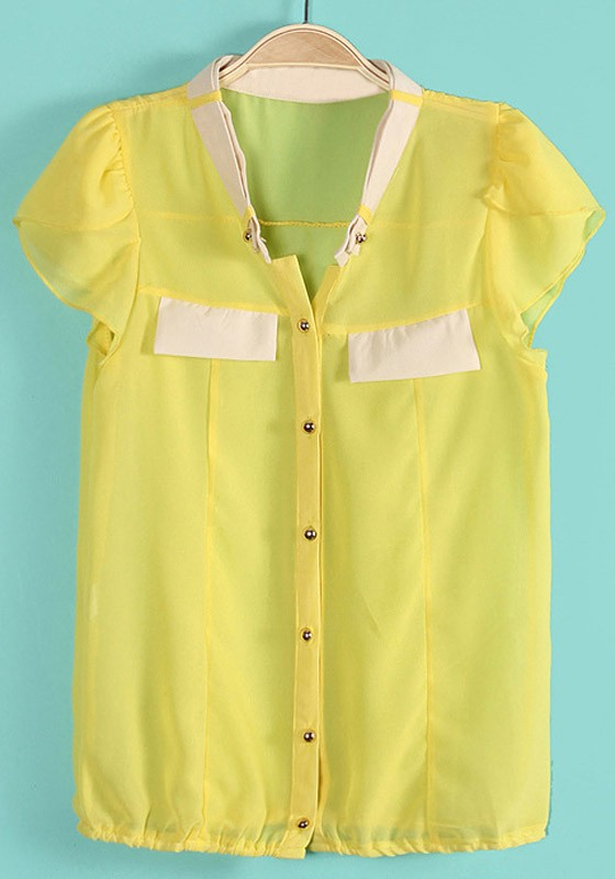 Traditional school uniform girls blouse in yellow. These blouses are available in a range of adult sizes. They are also available in long and short sleeve variations.