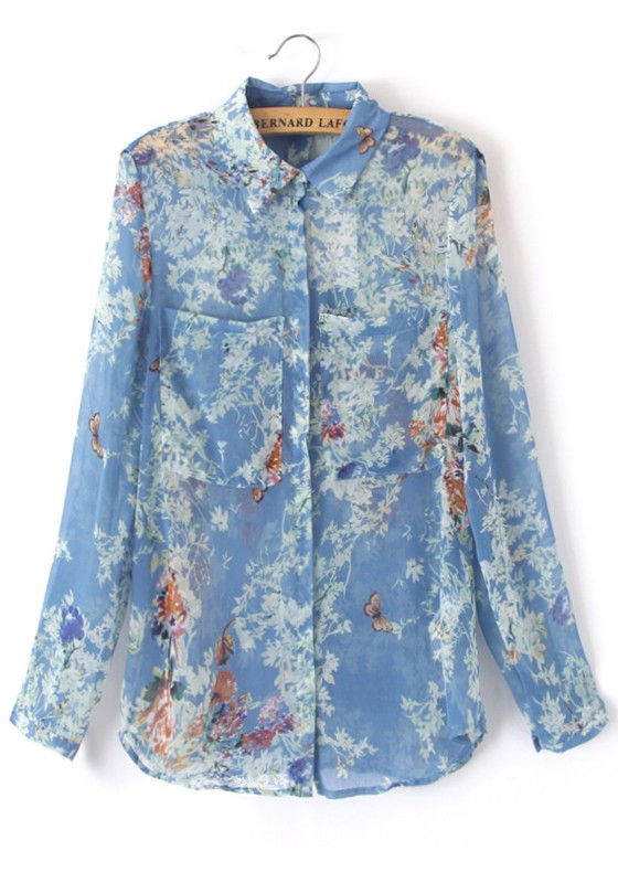 Blue Butterfly Floral Pockets Long Sleeve Chiffon Blouse - Blouses - Tops 60bbbfe7f