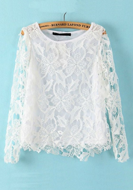 White Long Sleeve Lace Blouse 88