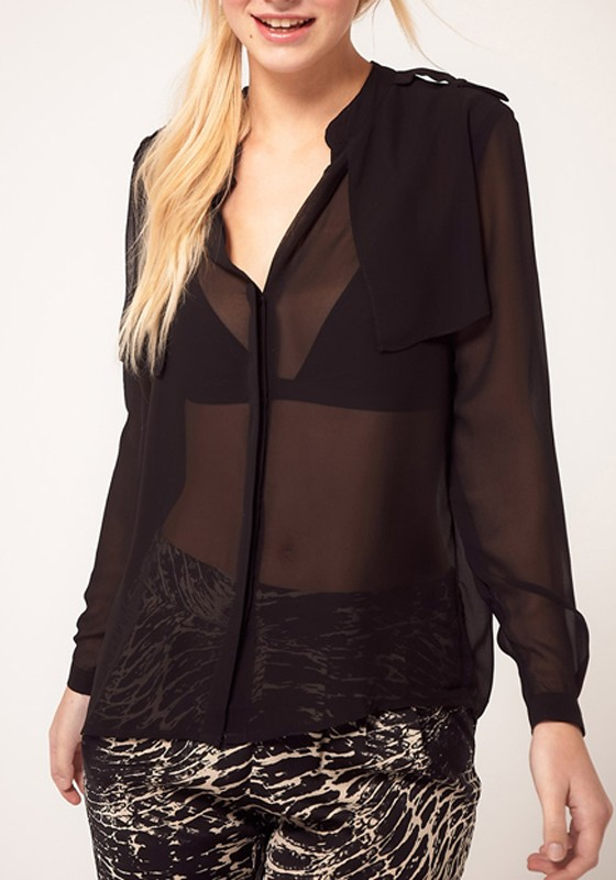Black Chiffon Blouse Long Sleeve | Fashion Ql