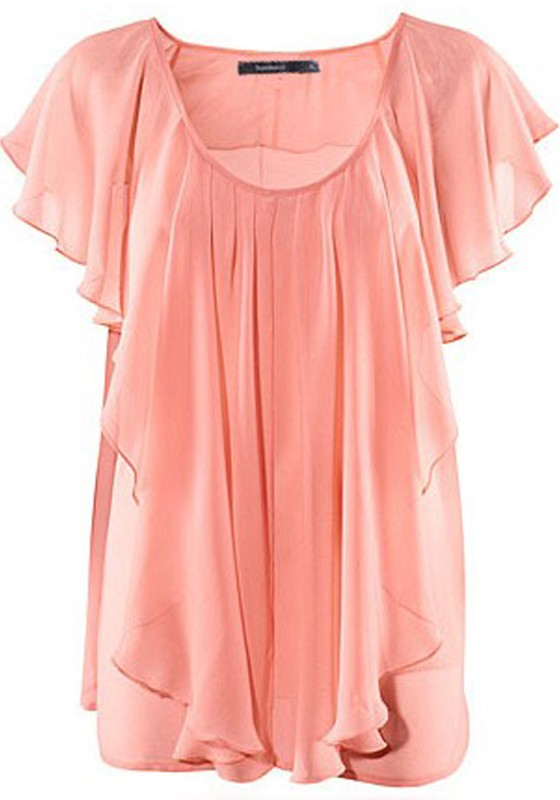 7c6a86719b3c44 Pink Pleated Scoop Neck Lotus Sleeve Chiffon Blouse - Blouses - Tops