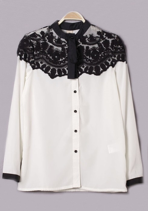 White Lace Patchwork Band Collar Cotton Blouse Blouses Tops