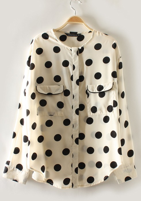 5733cccec172d Multicolor Polka Dot Pockets Round Collar Chiffon Blouse - Blouses - Tops