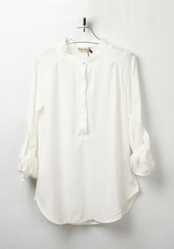 White Plain Round Neck Seven's Sleeve Chiffon Blouse - Blouses - Tops