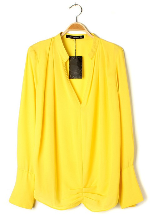 Long Sleeve Yellow Blouse 78