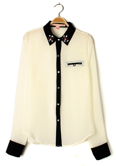 Collection Chiffon Long Sleeve Blouse Pictures - Reikian