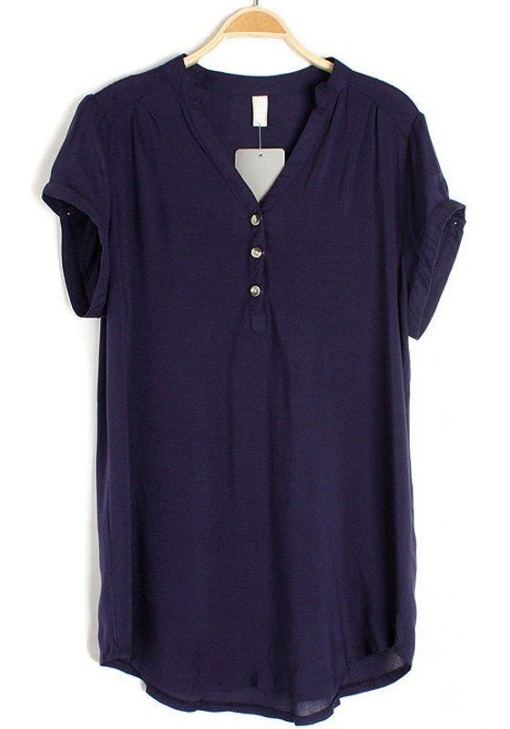 Blue Irregular V-neck Short Sleeve Buttons Chiffon Blouse ...