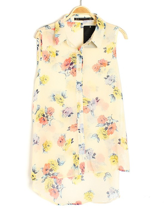 2ea22d9b484f0f Yellow Floral Print Buttons Single Breasted Chiffon Blouse - Blouses - Tops