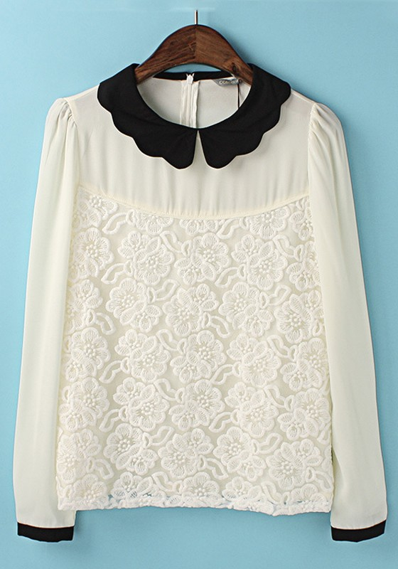 White Chiffon Blouse With Collar 103