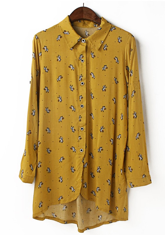f6a5d54ee25 Yellow Horse Print Long Sleeve Wrap Chiffon Blouse - Blouses - Tops