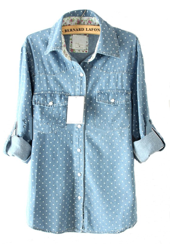Light Blue Polka Dot Shirt Light Blue Polka Dot Buttons
