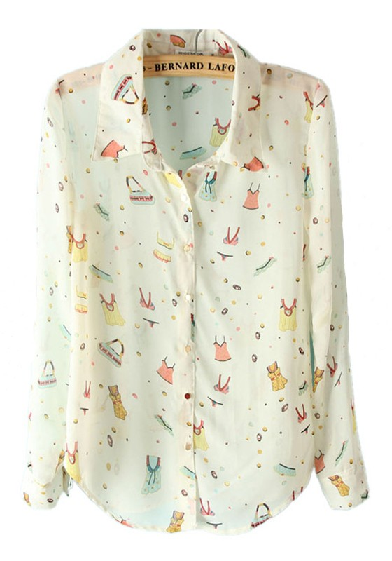 White Floral Print Lapel Long Sleeve Chiffon Blouse - Blouses - Tops
