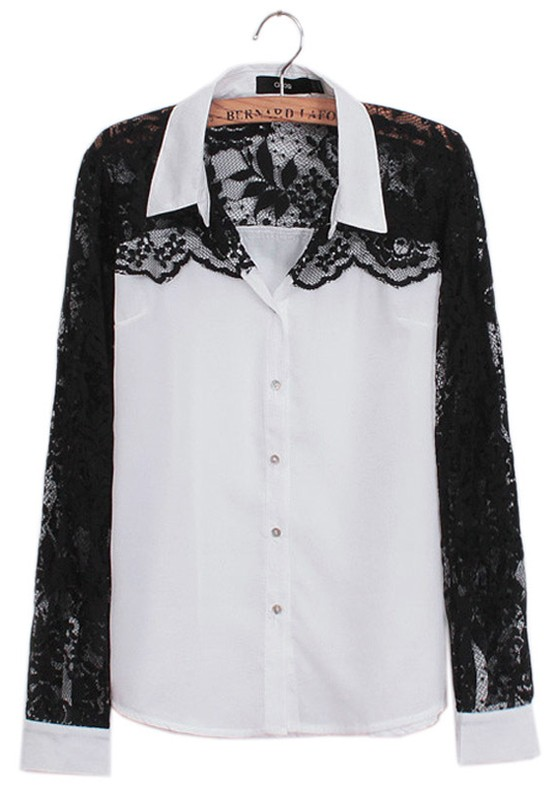 White Black Lace Patchwork Long Sleeve Chiffon Blouse - Blouses - Tops