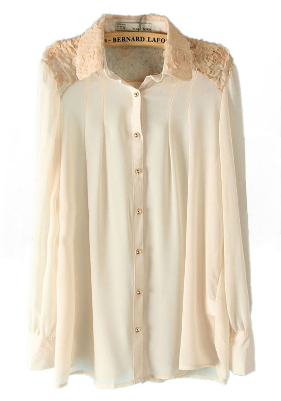 White Long Sleeve Lace Blouse 46