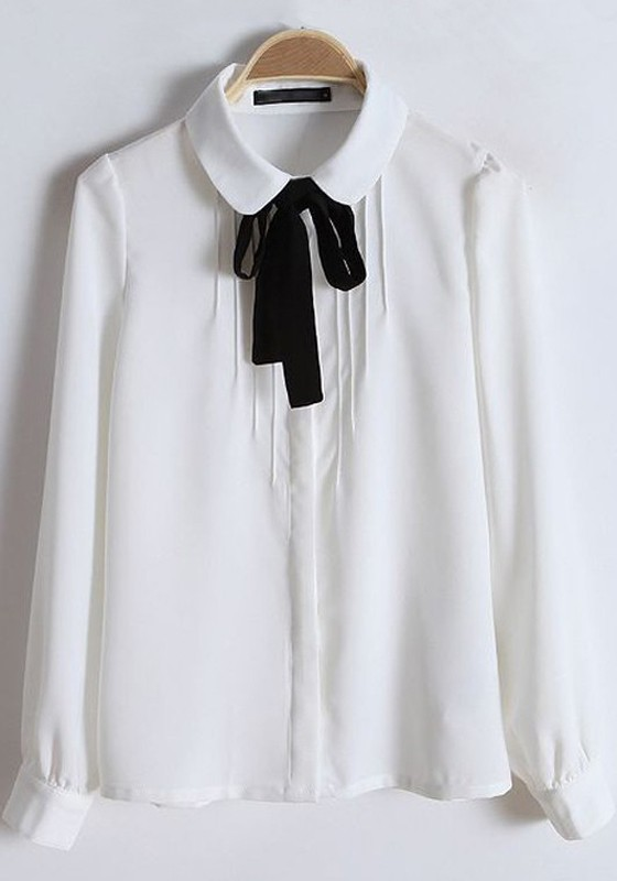 White Plain Round Neck Bow Cotton Blend Blouse - Blouses - Tops