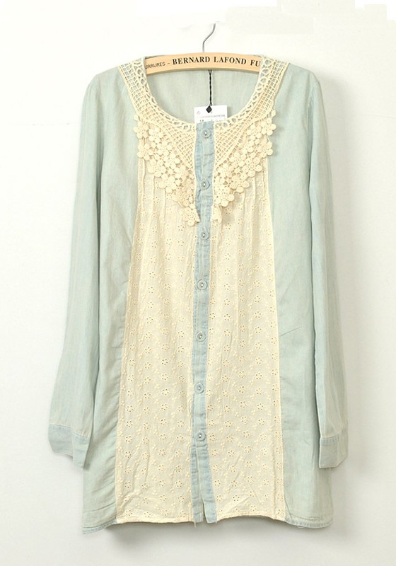 Light Blue Lace Patchwork Normal Cotton Blend Blouse - Blouses - Tops