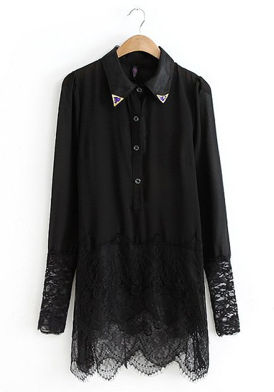 Lush Pintuck And Lace Blouse 53