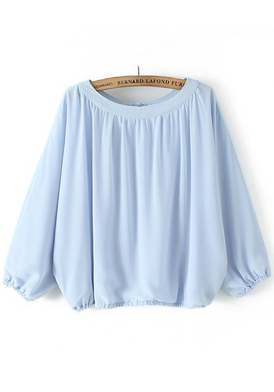 Pale Blue Chiffon Blouse