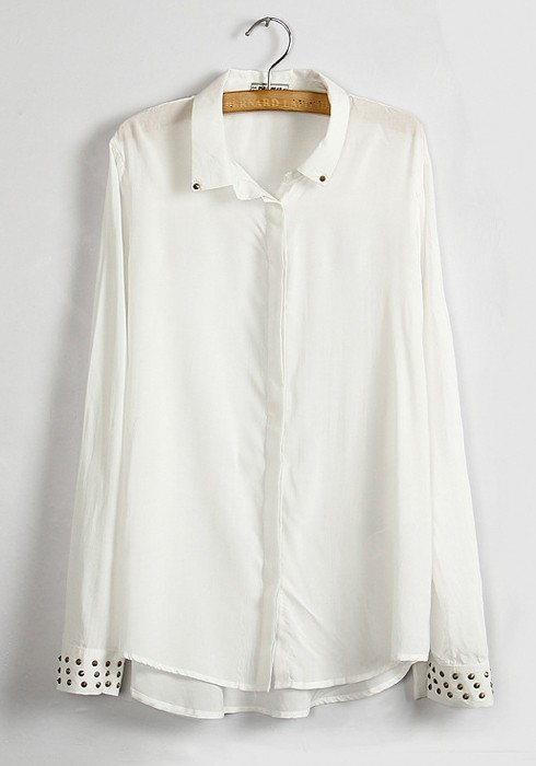 Long Sleeve Cotton White Blouse 8