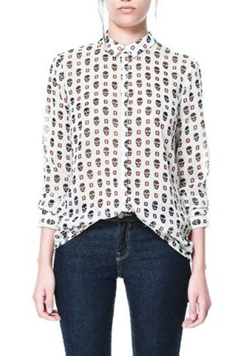 587cdeee1 Multicolor Skull Print Lapel Single Breasted Chiffon Blouse - Blouses - Tops