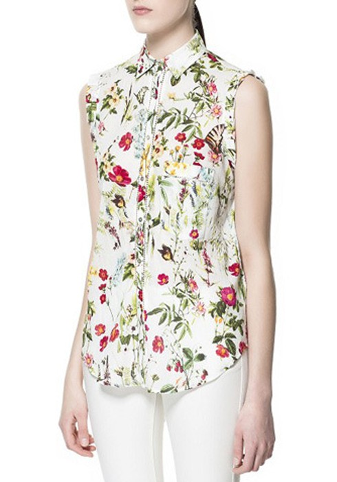 640568585d574f Multicolor Floral Print Buttons Lapel Sleeveless Cotton Blouse - Blouses -  Tops