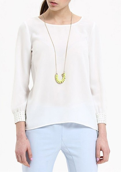 Images of White Long Sleeve Chiffon Shirt - Reikian