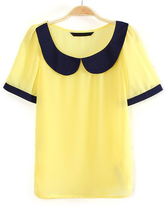 Yellow Patchwork Lapel Short Sleeve Chiffon Blouse - Blouses - Tops